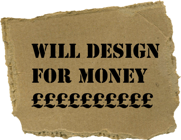 will design for money on cardboard